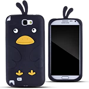 Zooky® black silicone chicken Case / Cover / Shell for Samsung Galaxy Note II/2 (N7100)