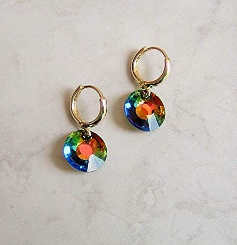 Medium Vitrail Multi Green Rainbow Huggie Hoop Earrings Made With Swarovski Sun Crystal Gift Idea GP