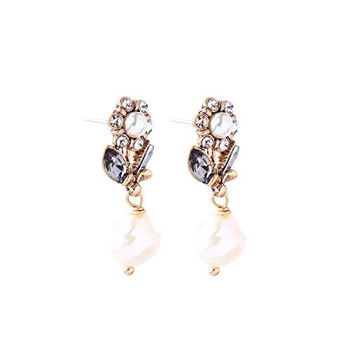 Miss Kiss Vintage Gold Flower Cultured Pearl Pendant Fashion Women Drop (Vintage Pendant Kiss Glass)