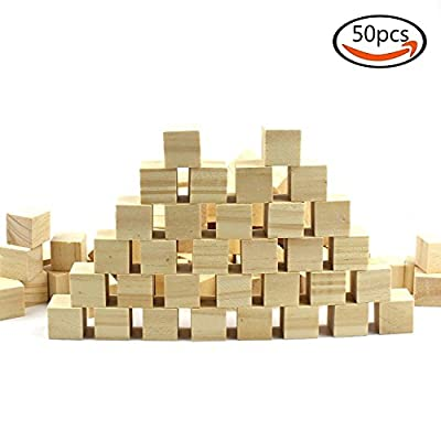 "Goodlucky 50 Pcs 1"" Natural Unfinished Craft Wood Blocks Wood Cubes for Baby Baby Shower Gifts"