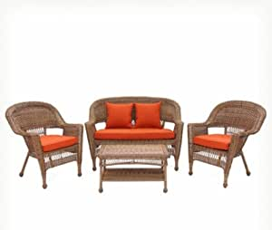 Lounge Patio Seating Group Set Indoors Outdoors 4 Piece Many Differnet Colors (Red)