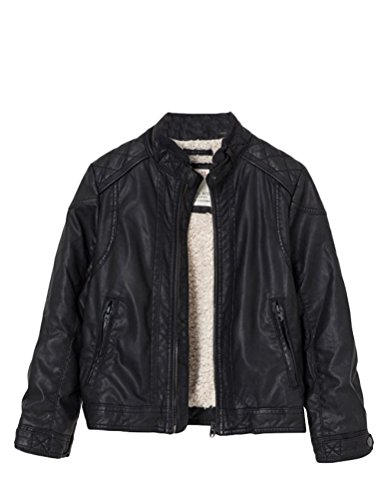 Mallimoda Boy's Leather Motorcycle Jacket Children's PU Zipper Coat Black with Fur 3-4 Years