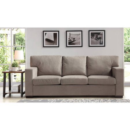 Upholstered Sofa Couch, Sturdy Steel Frame, Polyester Base Fabric, Square  Shape, Comfortable