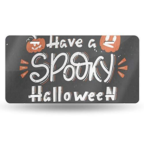 DERTYV License Plate Frame Custom Have Spooky Halloween Pumpkins Oak Leaves Metal Signs Car Cover Set Fantastic for Car Decoration]()