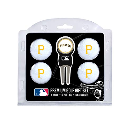 Team Golf MLB Pittsburgh Pirates Regulation Size Golf Balls (4 Count) & Divot Tool with Removable Double-Sided Magnetic Marker ()