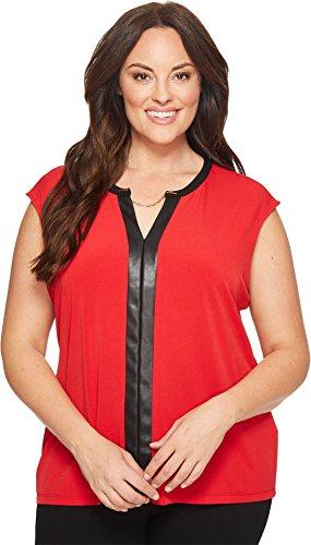 Calvin Klein Women's Plus Size S/l Top W/Pu&Chain, Rouge, 2X by Calvin Klein