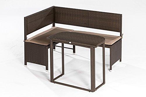 Eckbankset GRAZ 2-teilig, 1x Bank 148x100cm und 1x Tisch , Stahl + Polyrattan mocca, mit Auflage creme
