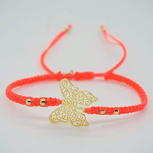 - SALE | BARBARI Jewelry Gold Plated 18K Butterfly Bracelet | Handmade Gift for Girls and Women! High Quality Butterfly Pendant on Pink Macrame Wax Wire Bangle