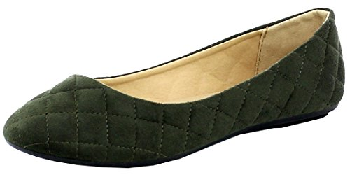 Khaki Flat Footwear Quilted Refresh Toe Womens Refresh Ballet Round Footwear W8zZ4qc8