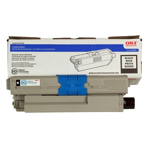 Genuine OEM Black Toner Cartridge Oki C330dn C530dn C531dn MC361 MFP MC362w MFP MC561 MFP MC562w MFP - 44469801 - Yield 3,500 (Printer Cartridges Laser Oki)
