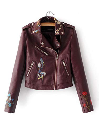 Autumn Biker Jacket Women Embroidered Bomber Faux Leather Jacket Floral Pink Black Motorcycle Leather Wine red ()