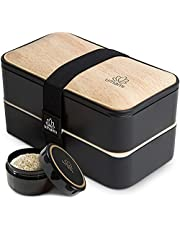UMAMI Bento Box voor volwassenen en kinderen, nieuwe premium editie, 1 sauspot & 4 bestek, lunchtrommel voor mannen/vrouwen, 2 maaltijdcontainers, magnetron, vaatwassers, diepvriesbestendig, BPA-vrij