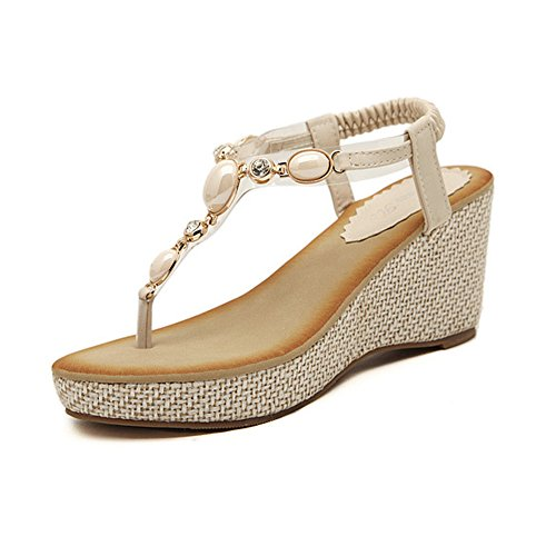 DolphinBanana DophinGirl Women Summer Wedge Sandals Chic Rhinestone Jewels Chic Sexy Comfy String Thong T-Strap Shoes Prime JX00001 Nude