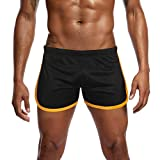 Willsa Mens Running Shorts, Solid Color Elastic Waist LUN Mesh Movement Flat Angle Track Pants Home Shorts Black