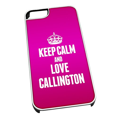 Bianco cover per iPhone 5/5S 0125 Pink Keep Calm and Love Callington