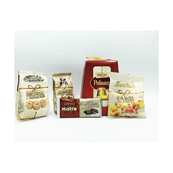 """Pandoro Paluani + """"MOTTA"""" Le Boules alla crema di nocciola+ """"Motta"""" tavoletta al cioccolato latte+1 confezione di canestrelli """"La Sassellese""""+ Caramelle """"Gran Geèles"""" IDEALE PER FESTE"""