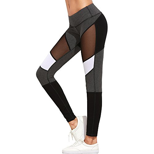 85b5cce6691430 Mnyycxen Women Yoga Leggings Running Sport Pants High Waist Workout  Leggings Fitness Trousers Gym Clothes Gray