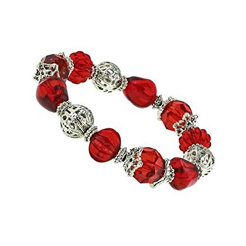 1928 Jewelry Silver-Tone Red Beaded Filigree Stretch Brac...