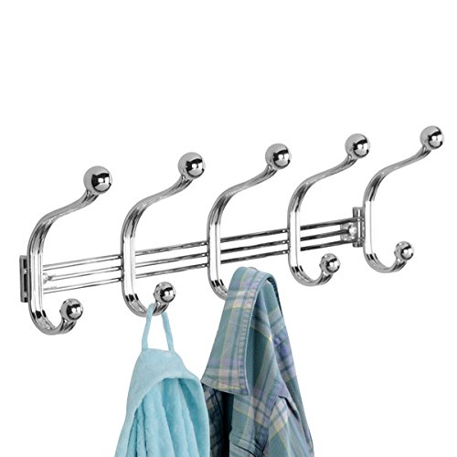 mDesign Decorative Wall Mount 10 Hook Storage Organizer Rack for Coats, Hoodies, Hats, Scarves, Purses, Leashes, Bath Towels & Robes - Compact Double Hook Design, Hardware Included - Chrome - 10 Chrome Wall Mount