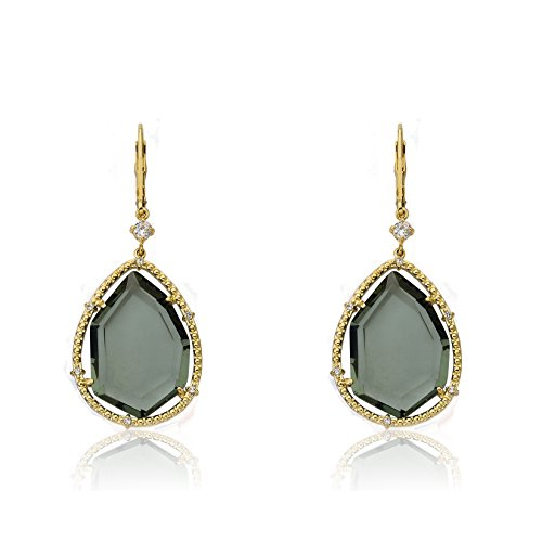 Riccova Sliced Glass 14k Gold-Plated CZ Trimmed Black Sliced Glass Teardrop Dangle Earring by Riccova
