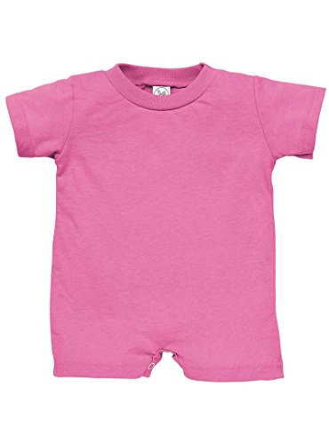 Rabbit Skins 100% Cotton Infant Baby Fine Jersey T-Romper [Size 12 months] Raspberry Pink Jersey - Stores Supermall At