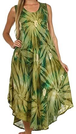Sakkas 00831 Starlight Caftan Tank Dress / Cover Up - Avocado / Green - One Size