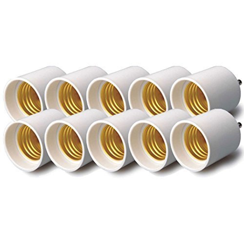 HOSL JKGU24-E27-0002 Convert Pin Base Fixture (Gu24) to Standard Screw-in Bulb Socket (E26/e27) - Pack of 10