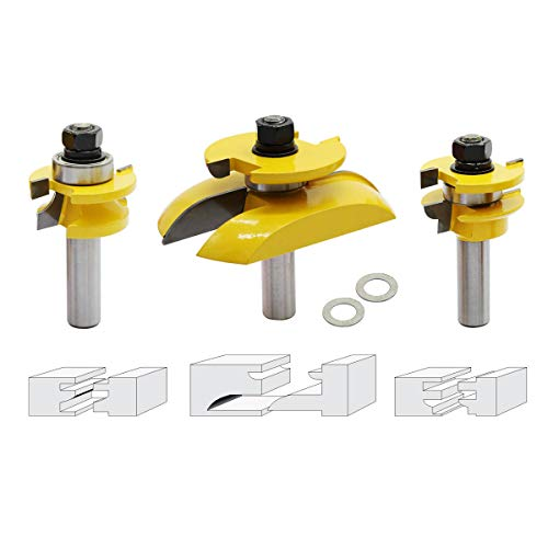 Nxtop 3Pcs 1/2'' Shank Rail Blade Cutter Panel Cabinet Router Bits Set Milling cutter Power Tools Door knife Wood ()