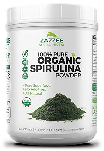 - USDA Organic Spirulina Powder 2.2 Pounds (1 KG) | 303 Servings | 100% Pure and Non-Irradiated | Vegan, All-Natural, and Non-GMO | Mess-Free Wide Mouth Container | Fresh Smell and Neutral Taste