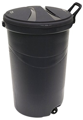 Rubbermaid RM5H9601 Wheeled Trash/Trash Can with Handle, 32-Gallon, Black, 2-Pack