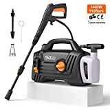Pressure Washer, UK STOCK 1400W 110Bar 390L/H High Efficiency, 3 Nozzle Includ 400ml Foam Jet Nozzle, Full Copper Motor Portable Electric High Pressure Cleaner, for Home Garden, Car Washing Machine