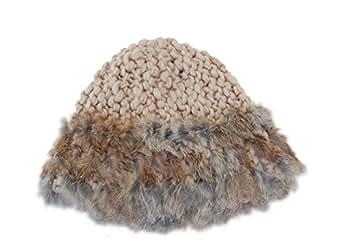 GP Accessories Women's Wide Rim Rabbit Fur Hand Knitted Beanie Hat Medium Beige