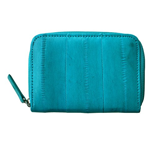 Rainbow Women's Genuine Eel Skin Leather Zip Around Credit Card Wallet (Teal)