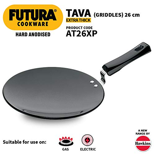 Hawkins Futura Hard Anodised Tawa with Plastic Handle, 26cm, Black Price & Reviews