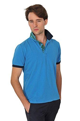 Zegna Baruffa Polo Poloshirt Herren Hellblau Dunkelblau Baumwolle Basic Fit Casual M