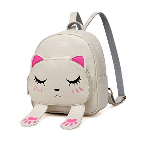 Kid Book Bag - DIOMO Women Kids Backpack For Girls Satchel School Book Bag Cute Cat Travel Daypack (Beige)