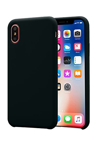 Alphacell iPhone X Silicone Case | Soft Slim Gel Rubber | Protective Phone Cover with Microfiber Lining for Apple iPhone X/iPhone 10 (2017) | Black