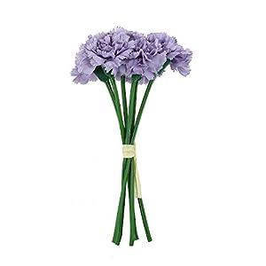 MARJON FlowersArtificial Flower Carnations Fake Flower Party Wedding Bouquet Home Floral Decoration Mother Gift-Purple 30