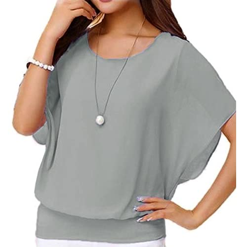 039d501e637 delicate Umeko Womens Blouses Chiffon Loose Casual Ruffle Short Sleeve  Dressy Summer Shirts Blouse Tops