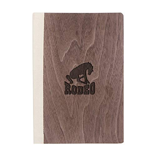 (Rodeo (Walnut Wood) Wooden Notebook - Eco-Friendly Natural & Premium Thick Paper - Sketchbook Rustic Wood Wedding Guest Book)
