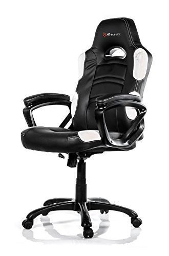 Arozzi Enzo Series Gaming Racing Style Swivel Chair, Black/White