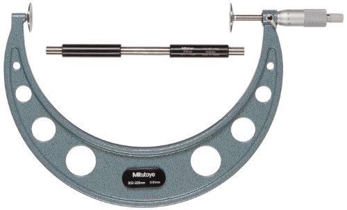 Mitutoyo 123-109 Disk Micrometer, Ratchet Stop, 200-225mm Range, 0.01mm Graduation, +/-0.008mm Accuracy ()