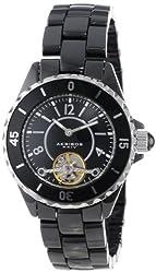 Akribos XXIV Women's AK524BK Automatic Oversized Ceramic Bracelet Watch