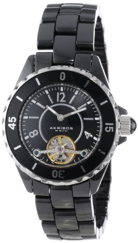 Akribos XXIV Women's AK524BK Automatic Oversized Ceramic Bracelet Watch