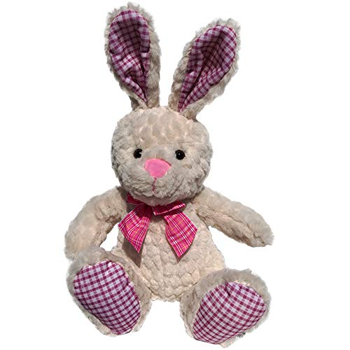 Bunny Rabbit Stuffed Animal Plush, Soft Fabric, 15 Inch Tall Cream Easter Rabbit, with Cute Bunny Bow and Checkered Accents, Toy Plush for Bunny Baby Shower, Easter Bunny, Gift for Boy or Girl (Pink) ()