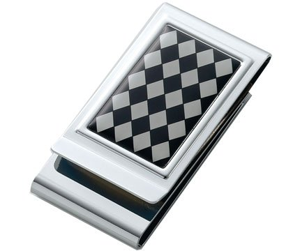 Aeropen International MC-245 Argyle Patterned Epoxy Metal Chrome Plated 2 Sided Money Clip with Black Card Board Box