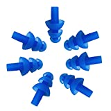 6PAIRS Soft Silicone Earplus Swimmers Flexible Ear Plugs for Swimming Sleeping with Earplug Case (Blue)