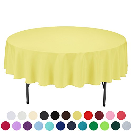 VEEYOO 90 inch Round Solid Polyester Tablecloth for Wedding Restaurant Party, - Round Yellow