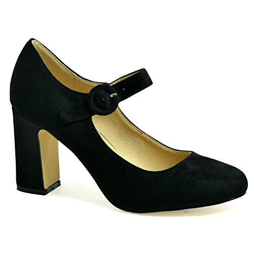42 Altezza Cucu 36 Mary Scarpe Media Donna Black Di Taglie Tacco Fashion Jane Da zqdw7F