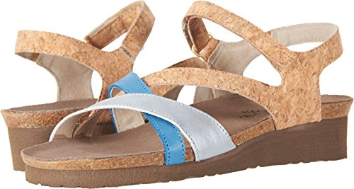 Naot Footwear Women's Sophia Gold Cork Leather/Ice Blue Leather/Vintage Blue Leather 39 M EU